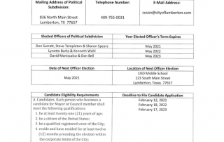 Annual Election Schedule